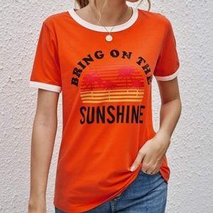 Orange Retro Style Tee 'Bring on the Sunshine'
